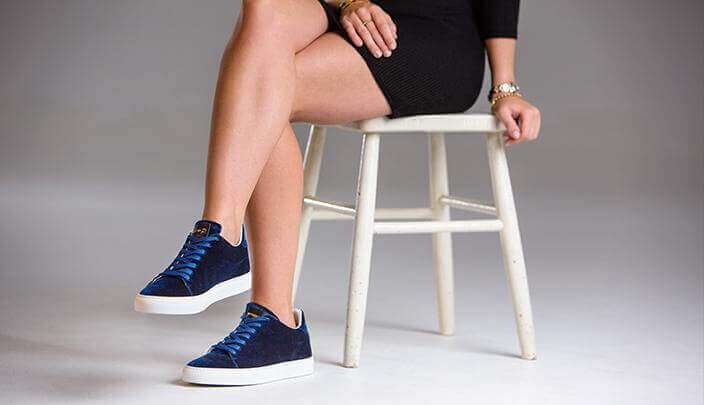 Ladies Madison Velvet Blue Sneaker (sample sale 36,37)